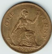George VI, One Penny 1940 (Scarcer Year), AUNC, M9016